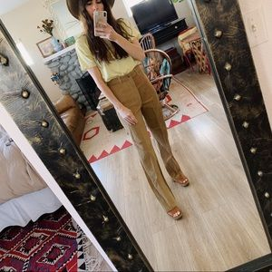 Vintage 70s high waist tan corduroy raw hem pants